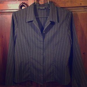 Jackets & Blazers - NEW YORK & CO Women's Large grey pinstriped blazer